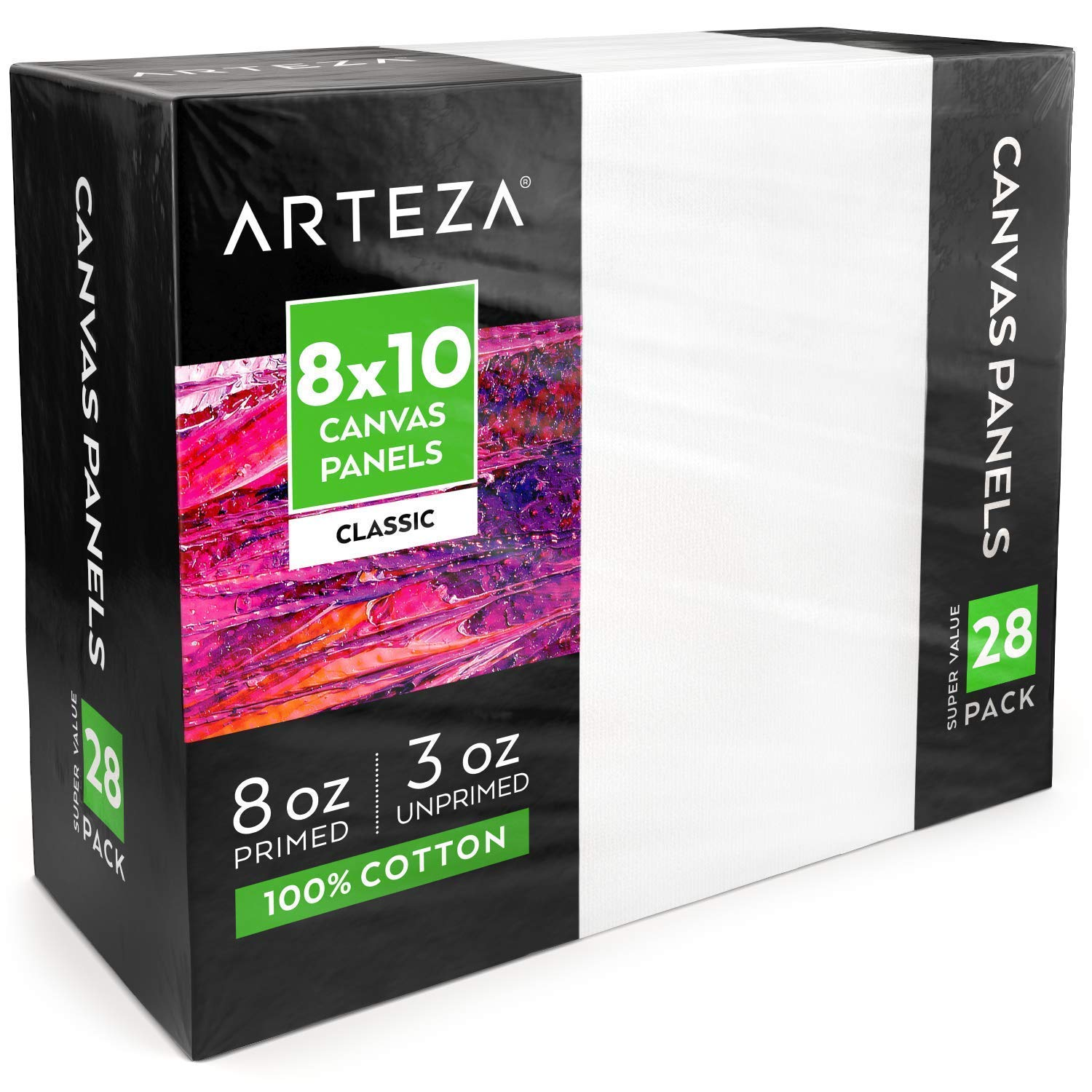 Arteza 8x10'' White Blank Canvas Panels Boards, Bulk Pack of 28, Primed, 100% Cotton for Acrylic Painting, Oil Paint & Wet Art Media, Canvases for Professional Artist, Hobby Painters & Beginners by ARTEZA