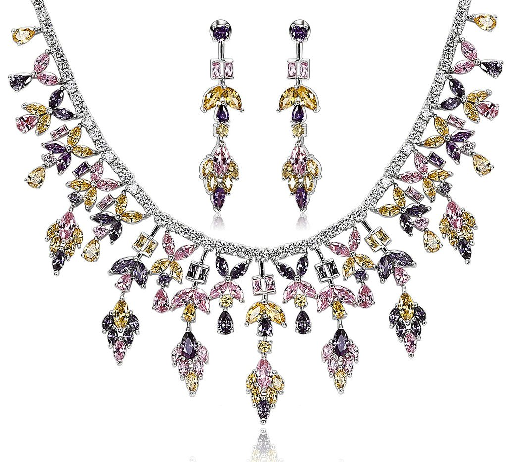 Epinki Silver Plated Ear Of Leaf CZ Crystal Yellow Purple Pink Necklace Stud Earring Jewelry Set