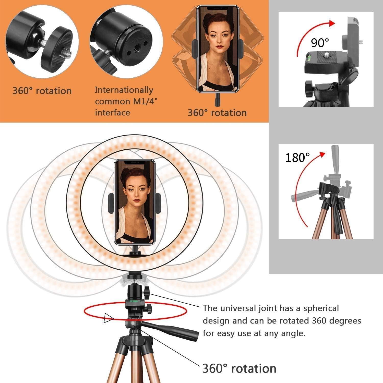 anneau LED pour vid/éo // photographie YouTube Anneau selfie 10 avec support tr/épied 50  pour maquillage en direct Champagne Gold support de t/él/éphone Circle Light compatible pour iPhone 11 Pro Max Xs Max XR X 8 7 6 Plus