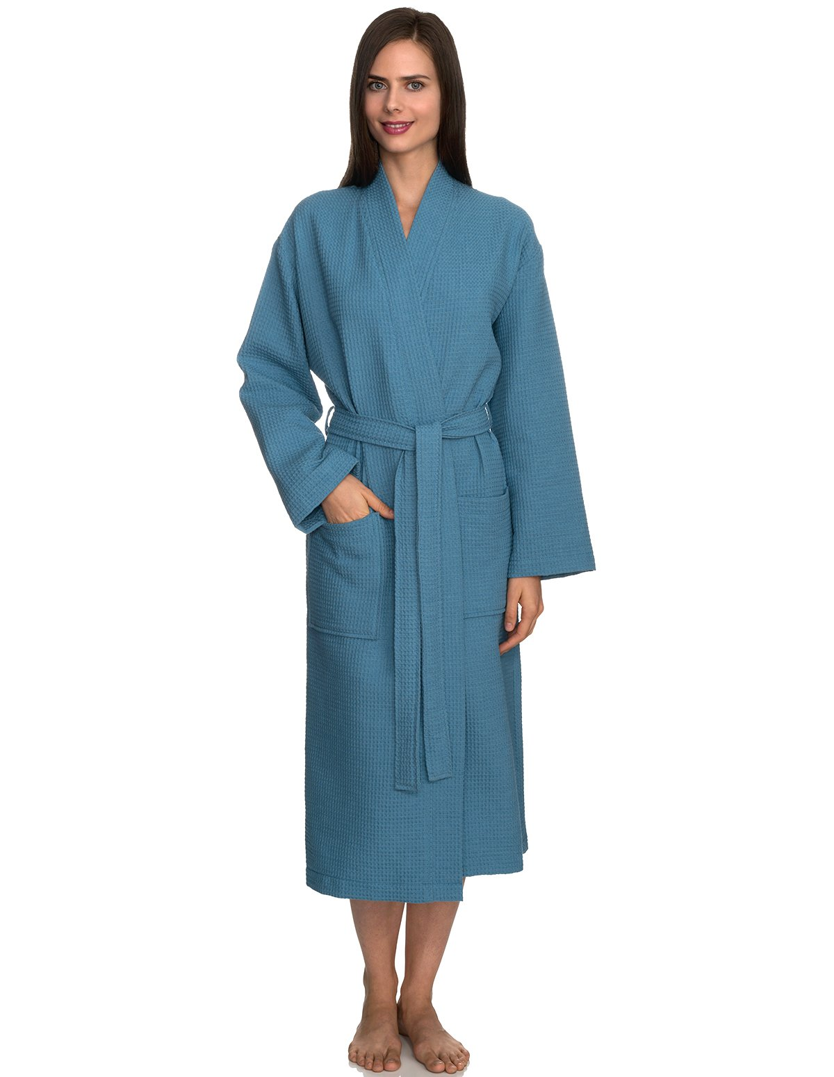 TowelSelections Women's Robe, Kimono Waffle Spa Bathrobe Small/Medium Niagara Blue