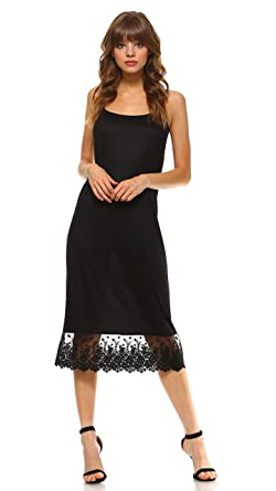 32b1ecf5f0d Long Lace Full Slip Solid Knit Camisole Dress Extender with Adjustable  Straps (Black