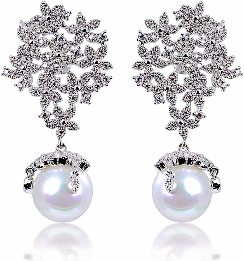 Lily Treacy 12mm shellpearl Dangle Pendientes de gota CZ blanco simulado diamond Pave en LED caja de luz novia