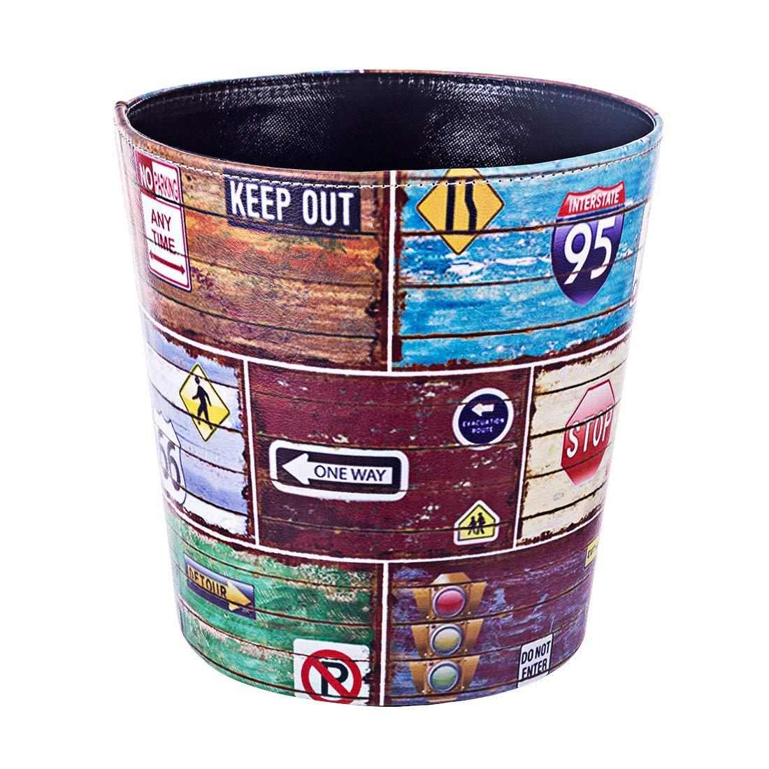 Haoun Wastebasket,Cute Owl Pattern PU Leather Trash Can Paper Basket Dustbin Garbage Bin for Bedroom Living Room Kitchen
