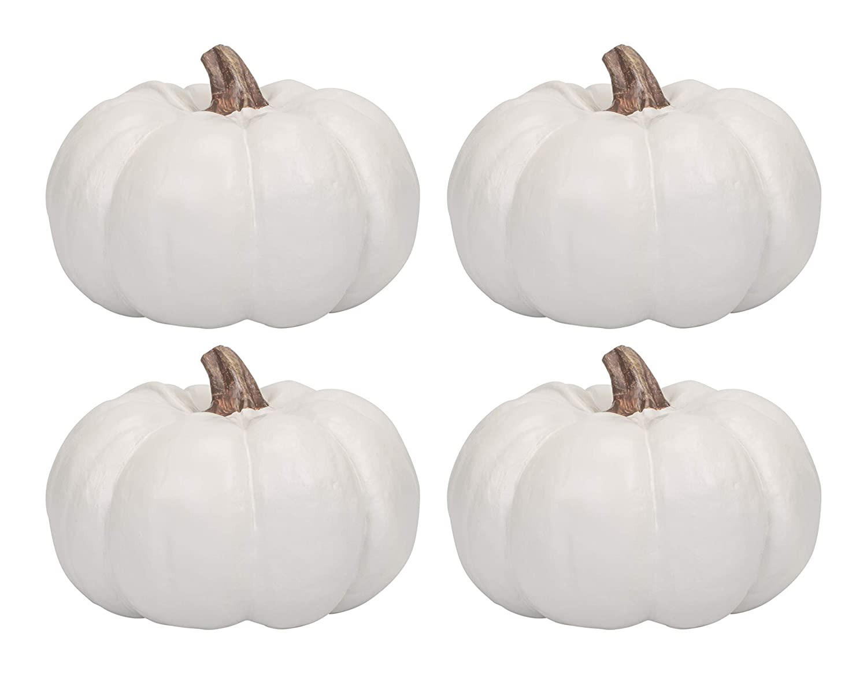 Elanze Designs Ivory 6 inch Decorative Resin Harvest Pumpkins (White), Quantity 1 PK001WHT