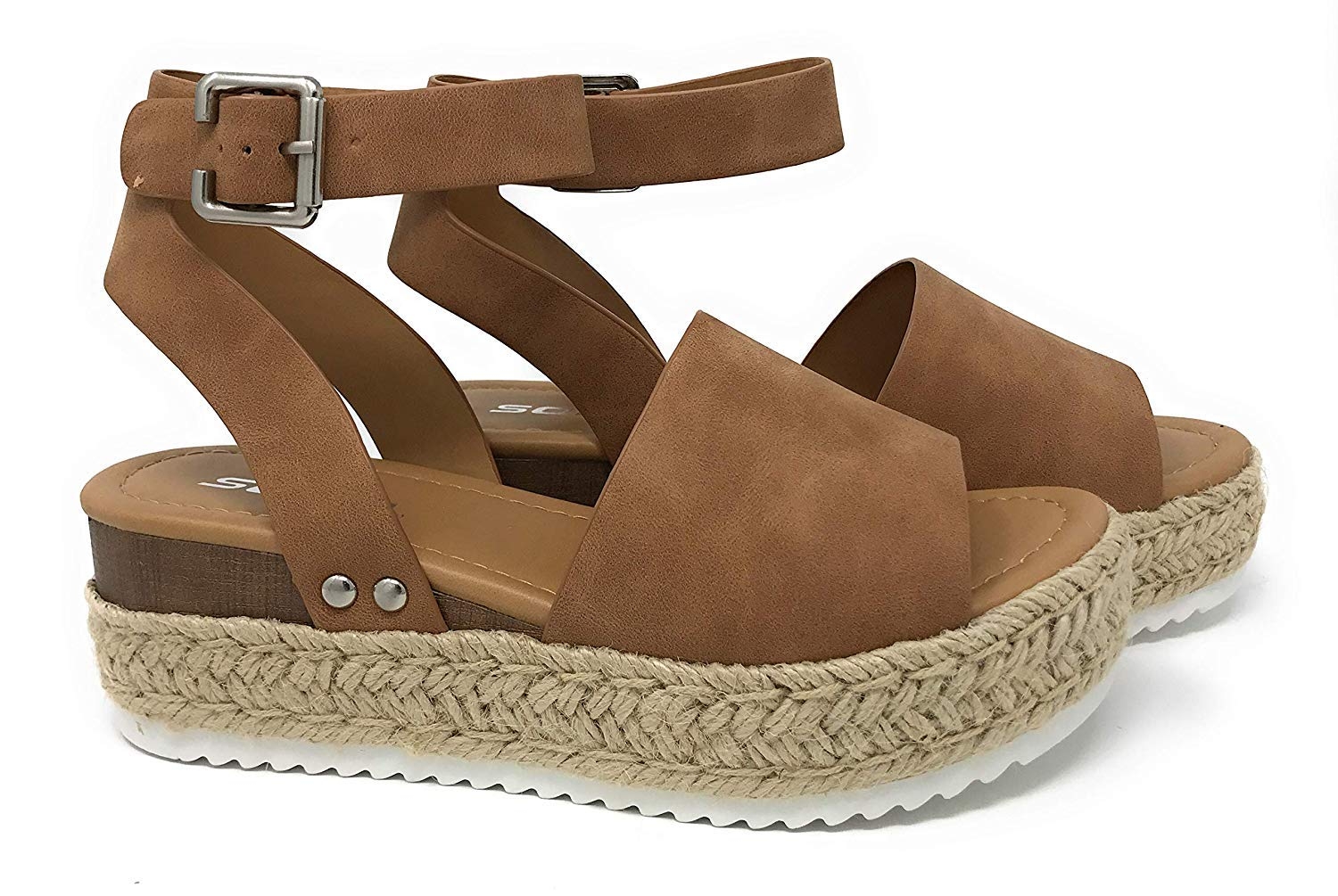 Soda Topic Tan Casual Espadrilles Flatform Studded Wedge Ankle Strap Sandals (7.5)