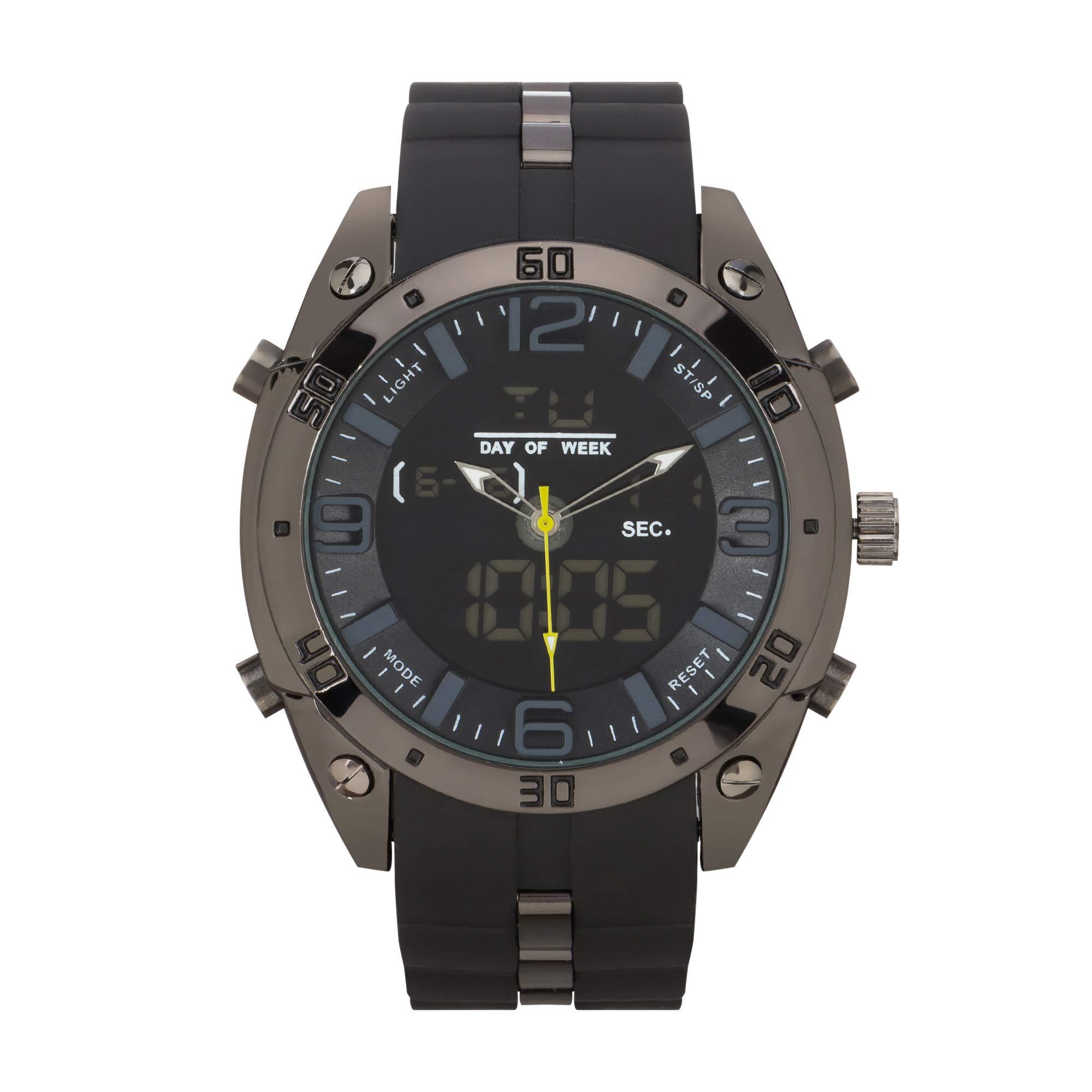 Rocawear Mens Quartz Black Two-Tone Anadigi Watch by Rocawear