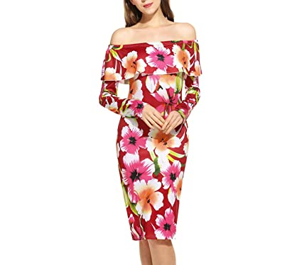 ad0e3a3afce38 Off Shoulder Party Floral Sleeve High Waist Pencil Spring Winter Vintage Women  Dress