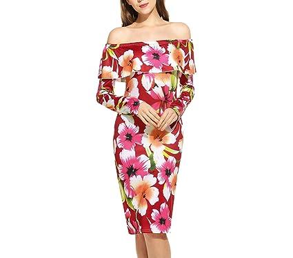 753687c407 Off Shoulder Party Floral Sleeve High Waist Pencil Spring Winter Vintage  Women Dress