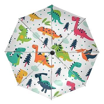 baihuishop – dinosaurios dibujos animados resistente al viento lluvia paraguas Auto abierto cerca 3 plegable resistente