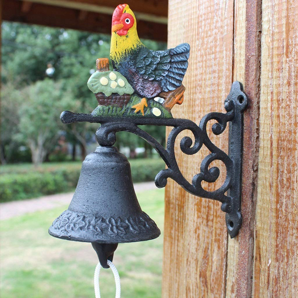LXYFMS American Country Cast Iron Chicken Doorbell Hand Bell Creative Wrought Iron Garden Wall Decoration Doorbell 17x8x17cm Cast Iron doorbell