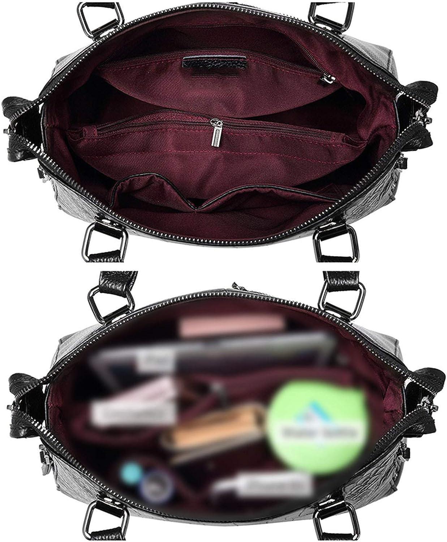 leather work briefcase alligator embossed leather top-handle shoulder bag,Black