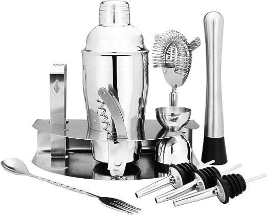 Set de cóctel de 12 piezas | Coctelera casera | Accesorios Bar | Kit coctelera con cucharas de medir | Mezclador de Cócteles y Medidas | M&W: Amazon.es: Hogar