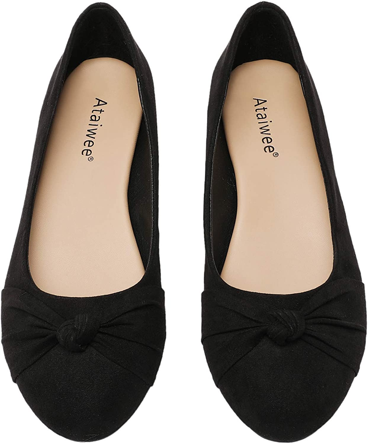 Ataiwee Women's Ballet Flats - Round Toe Suede Classic Cozy Cute Slip-on Flat Shoes.