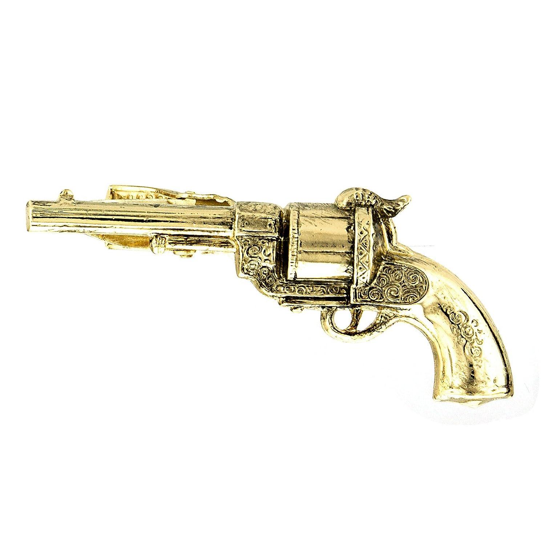 1928 Jewelry Men's Vintage Inspired Gold-Tone Pistol Tie Clip