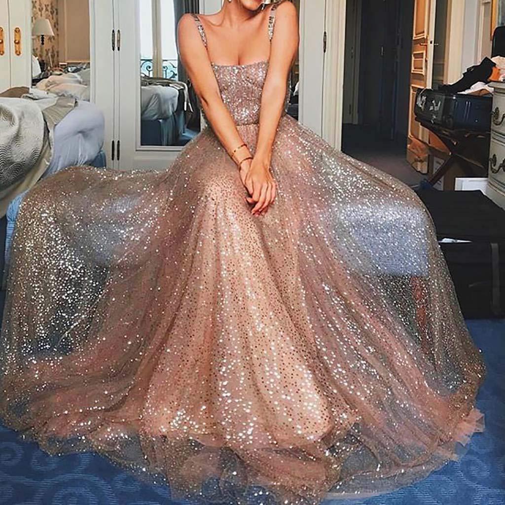 Bibao vestido largo de princesa para graduaci/ón 43453 L2 con tiras de lentejuelas para mujer rosa