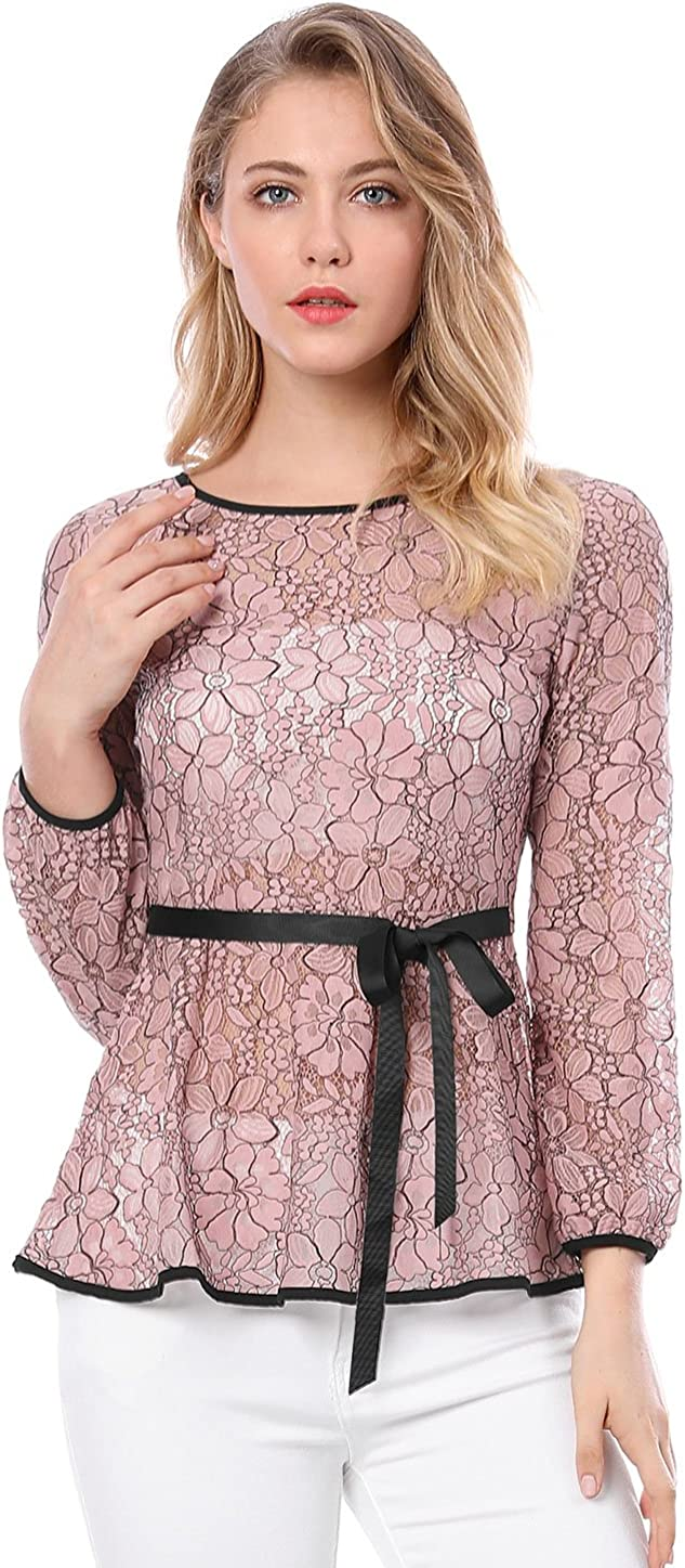 Allegra K Women's Elegant Tie Waist Long Sleeve Top Lace Peplum Blouses
