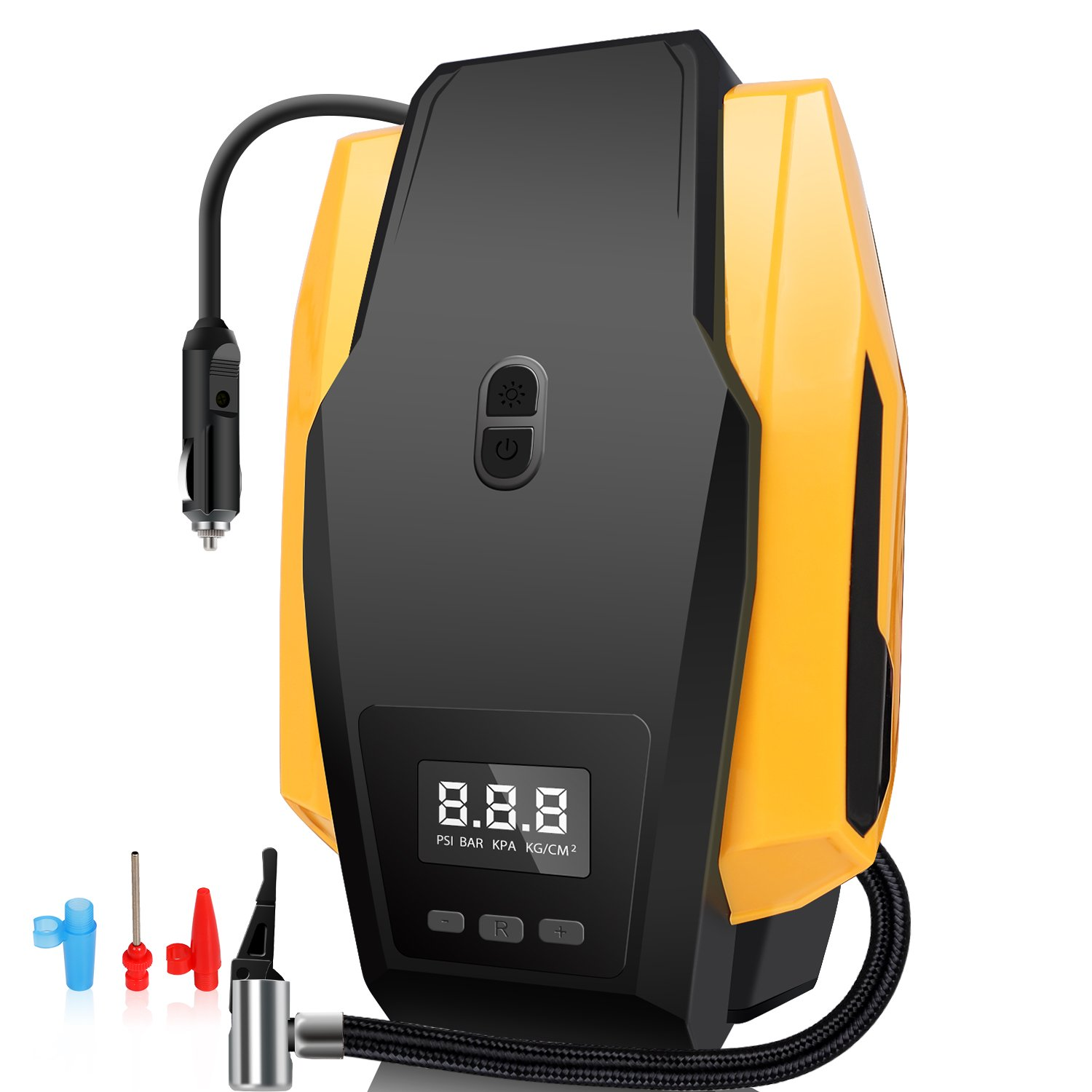 JARLINK Portable Air Compressor Pump, 12V 150 PSI Auto Electric Digital Tire Inflator with Preset Pressure Shut Off and Bright LED Light for Car, Truck, Bicycle, Basketballs