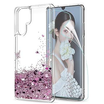 LeYi Funda Huawei P30 Pro Case Silicona Purpurina Carcasa con HD Protectores de Pantalla,Transparente Cristal Bumper Telefono Fundas Cover para Movil ...