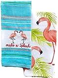 Celebrate Summer Pink Flamingo Kitchen Towels Set of 2