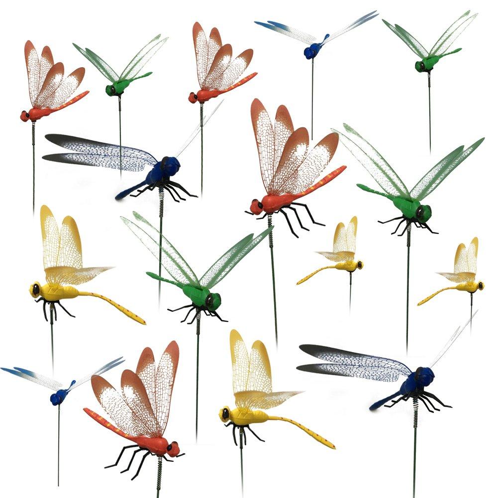 16 Stk Libelle Gartenstecker 25CM Libelle Dekostecker als Deko für Garten Oder Blumentopf G2PLUS