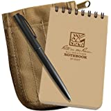 """Rite in the Rain All-Weather 3"""" x 5"""" Top-Spiral Notebook Kit: Tan CORDURA Fabric Cover, 3"""" x 5"""" Tan Notebook, and an All-Weather Pen (No. 935T-KIT)"""