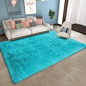"YOH Modern Large Soft Fluffy Shaggy Area Rug for Bedroom Living Room Indoor Floor Home Decor Accent Furry Fur Rugs, Rectangle Non-Slip Plush Fuzzy Floor Carpet for Dorm Nursery Kids Room, 6""x9"" Blue"