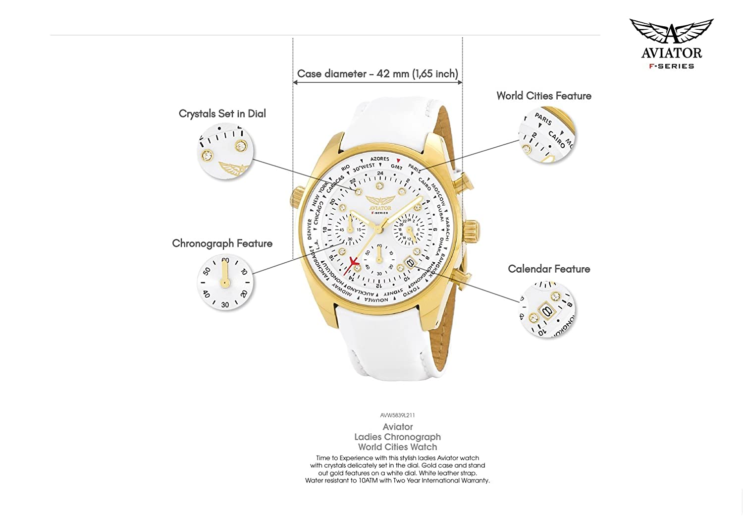 Amazon.com: Aviator Womens Watch - Ladies Casual Fashion Wristwatch - White Strap Gold Case with White Crystals - Female Quartz Oversize XL Chronograph: ...