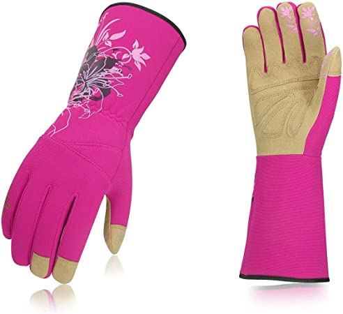 1Pair,Size M,Purple Red,SL7445 Vgo Ladies Synthetic Leather Long Cuff Rose Garden Gloves