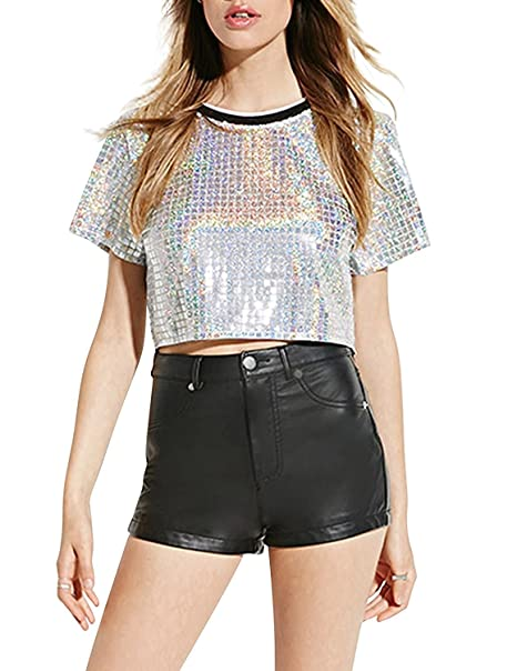 503162ad9 Amazon.com: Jessicalove Womens Silver Sequins Short Sleeve Crop Top Tee T- shirt: Clothing