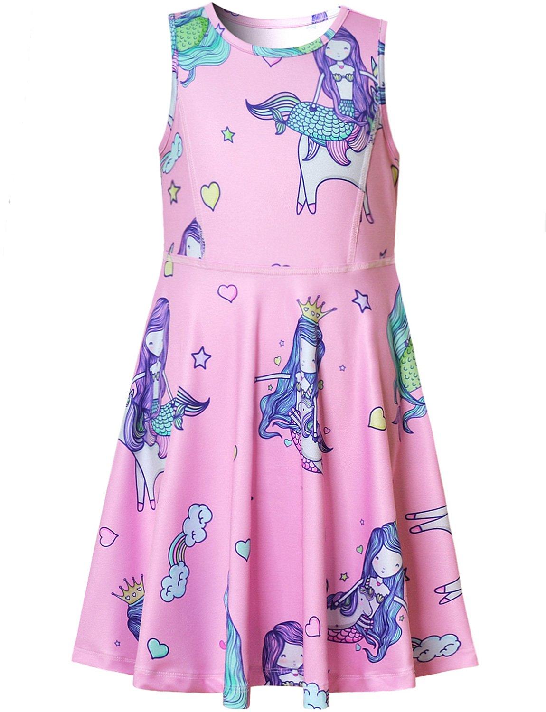 Mermaid Dresses for Girls Unicorn Casual Summer Pink Cute Rainbow Teen Birthday