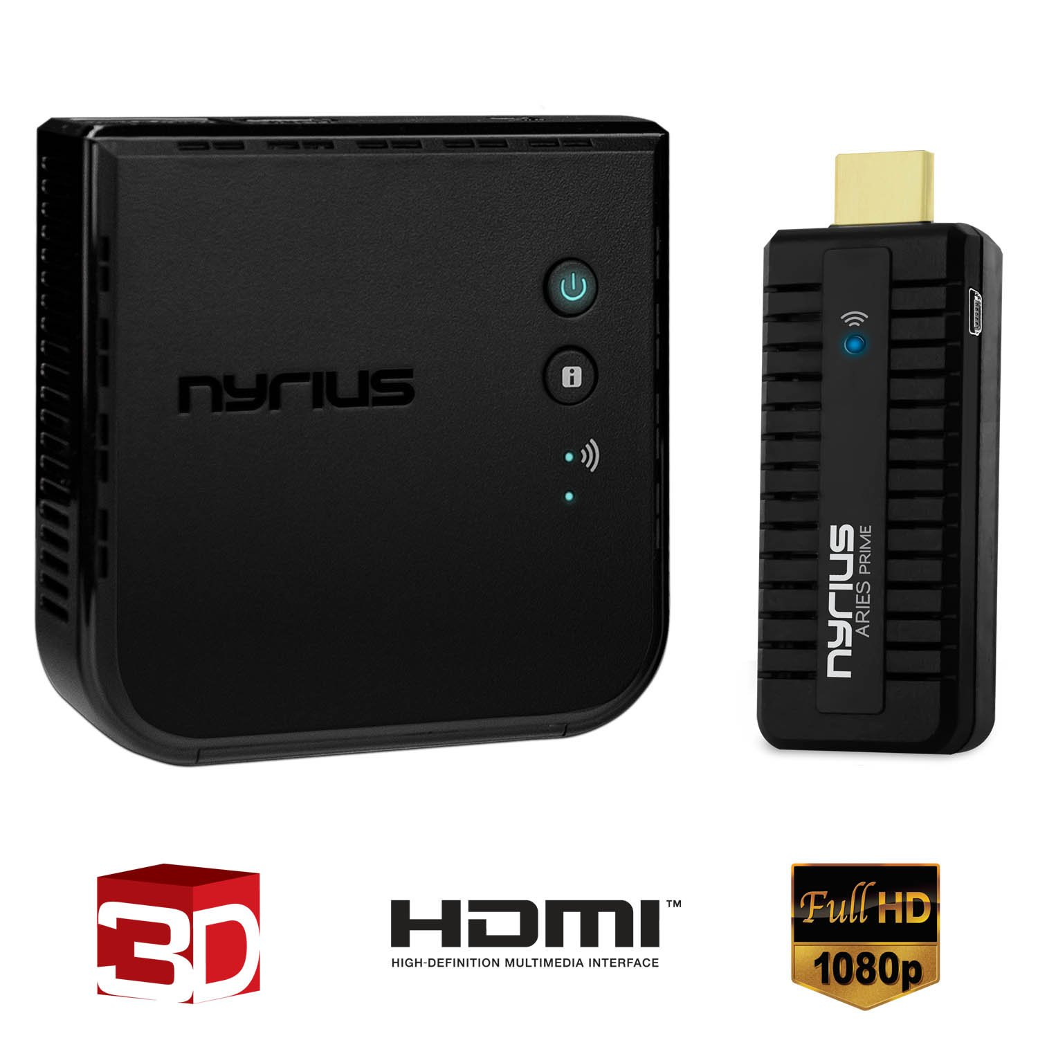 Nyrius ARIES Prime Wireless Video HDMI Transmitter & Receiver for Streaming HD 1080p 3D Video & Digital Audio from Laptop, PC, Cable, Netflix, YouTube, PS4, Xbox One to HDTV/Projector (NPCS549) by Nyrius (Image #1)