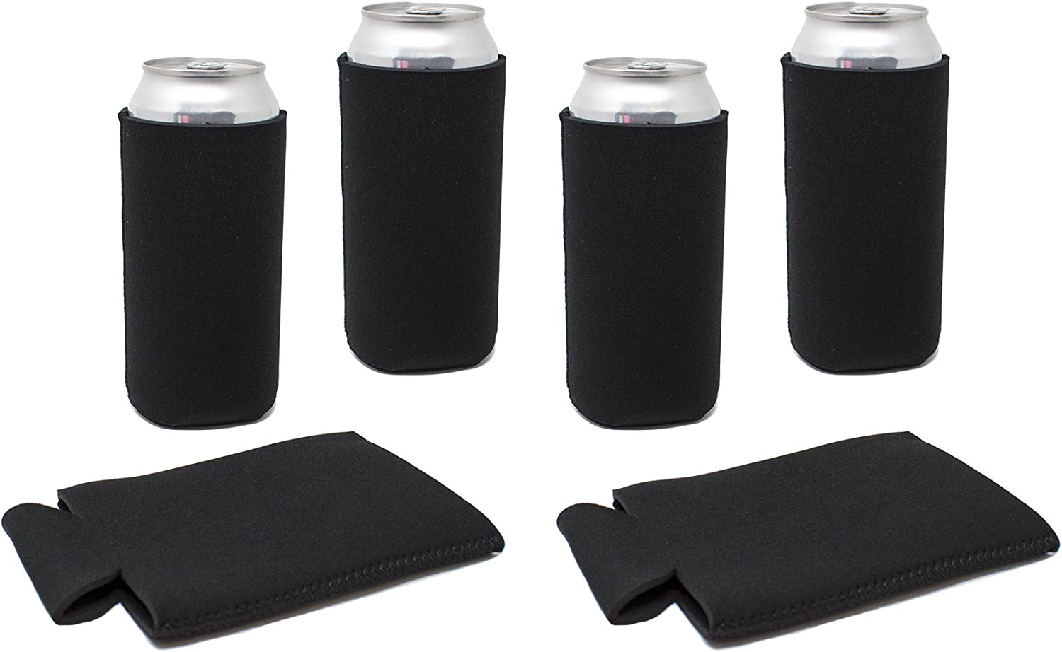 TahoeBay 16oz Can Sleeves - Black Neoprene Beer Coolies - Blank Tall Energy Drink Coolers - Compatible with 16oz Cans (Black, 6)