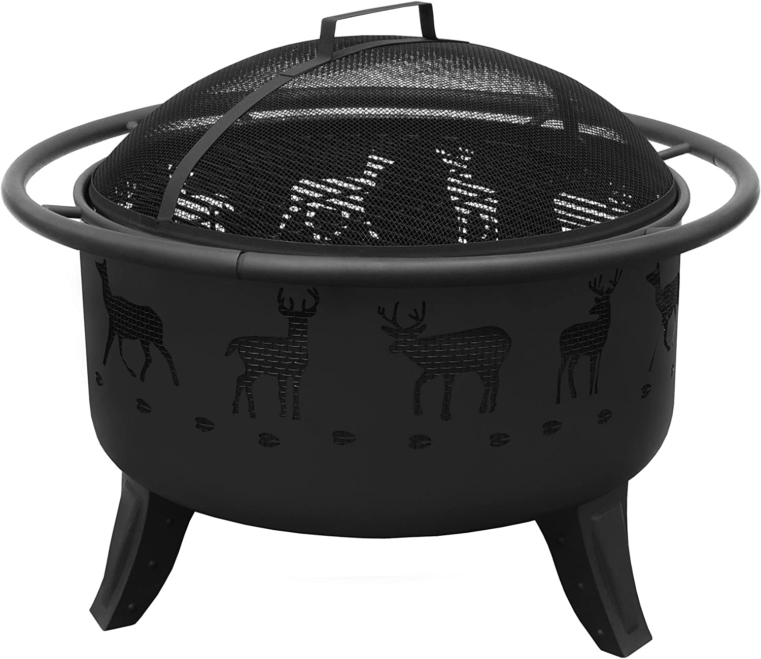 Landmann USA 23192 Patio Lights Deer Tracks Fire Pit, 24 x 12.5 inch, Black