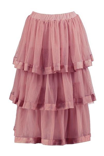 f03e7ec47ad89c Boohoo Womens Eleni Tulle Layered Full Midi Skirt in Mauve size 4 ...
