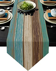 FAMILYDECOR Linen Burlap Table Runner Dresser Scarves, Retro Old Wood Barn Teal Green Table Runners for Farmhouse Kitchen, Dinner Holiday Parties, Wedding, Events, Decor - 13 x 108 Inch
