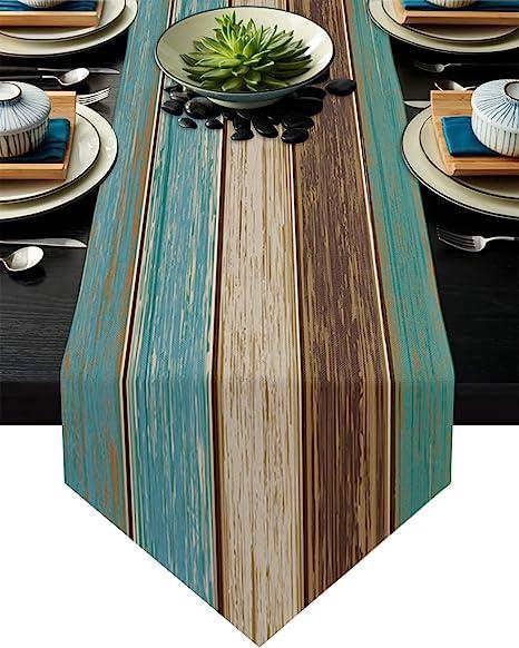 Green blue turquoise table runner