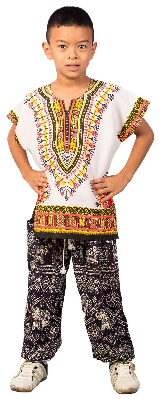 Lofbaz Unisex Child Traditional African Printed Dashiki White & Orange M