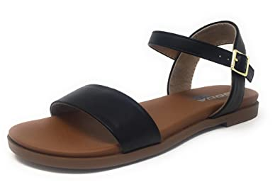 ff9180fa1d9 SODA Comfy Meadow-S Women s Faux Leather Single Strap Comfort Sandals (5.5