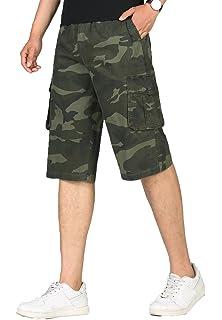 8f606b57678d KEFITEVD Men s Cargo Shorts 3 4 Length Baggy Short Capris Elastic Waist Work  Pants with
