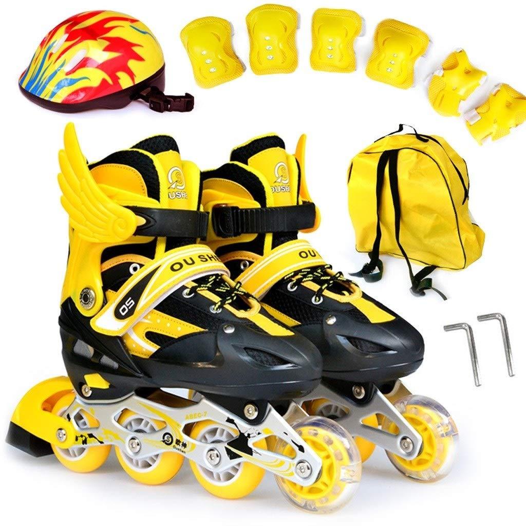 ZHANGHAIMING インラインスケート、子供用のスケート靴、スピード調節可能なスピードスケート靴、サイズ30-42イエローピンクブルーレッド (色 : A, サイズ さいず : EU 33/US 2/UK 1/JP 21.5cm) A EU 33/US 2/UK 1/JP 21.5cm