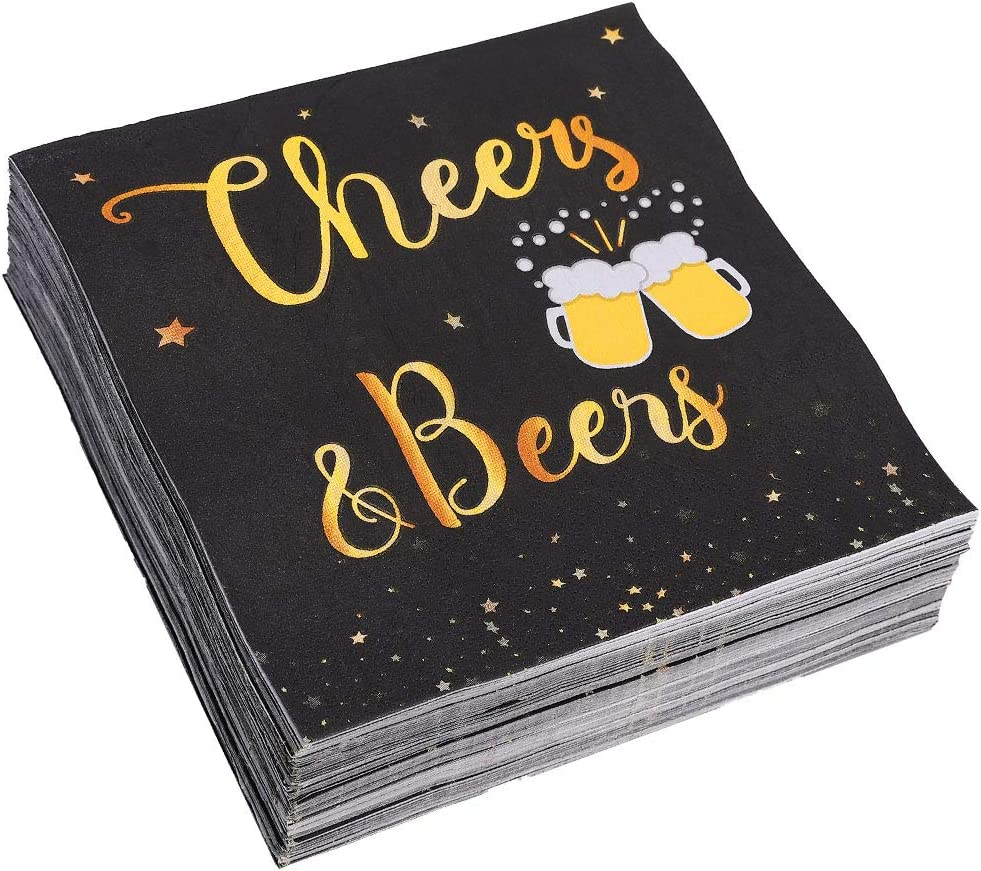 Trgowaul Birthday Party Cocktail Napkins - 100 Pack Cheers Gold Foil Happy Birthday Disposable Paper Napkins, Perfect for Birthday Party Supplies, 6.5 x 6.5 Inches Folded, Black