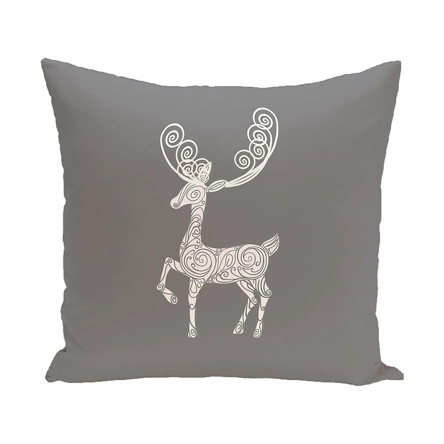 E by design Deer Crossing Decorative Holiday Animal Print Pillow 16 by 16 Gray
