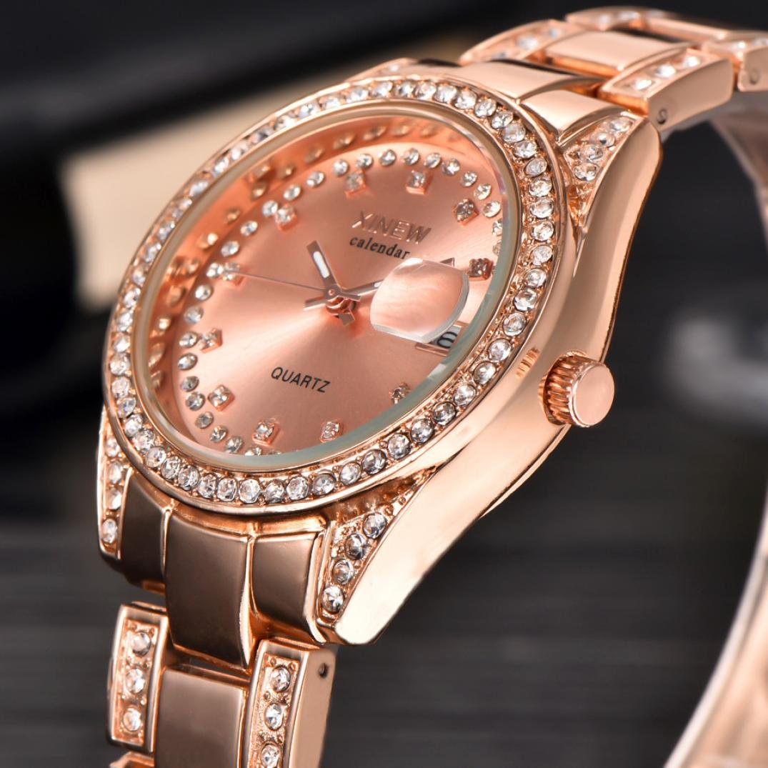 296c2de4d228 Amazon.com  GBSELL New Luxury Women Ladies Watches XINEW Stainless Steel  Date Quartz Wrist Watch Rose Gold  Watches