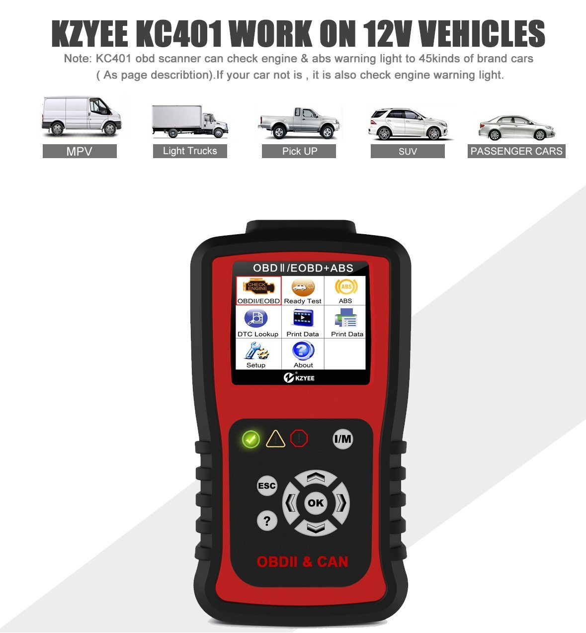 Kzyee KC401 Universal OBD2 Scanner, Enhanced OBD II Car Code Reader/Eraser Supports ABS Diagnostic Scan Tool with TFT color Screen, for Diesel and Gasoline Engine 12V Vehicles by Kzyee (Image #4)
