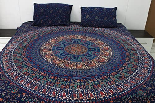 fairdecor King Size Traditional Wood Block Printed Mandala with Pillow Tapestry Wall Hanging Bohemian Tapestries Beach Throw Hippie Wall Decor Indian Tapestry