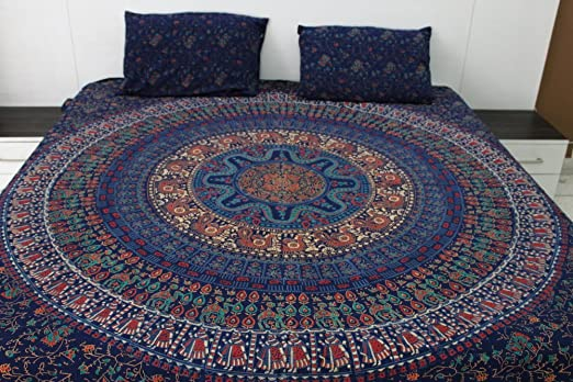 Hand Block Printed Cotton King Size Indian Hippie Mandala Bohemian Tapestry Bed Sheet Floral Prints Large Bedding Tapestries