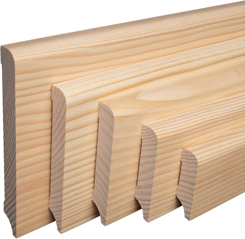 SPARPAKET 60mm H/öhe, 1 St/ück // 2,3lfm SockelleisteM/ünchen Fichte Massivholz GE/ÖLT Oberkante Rund