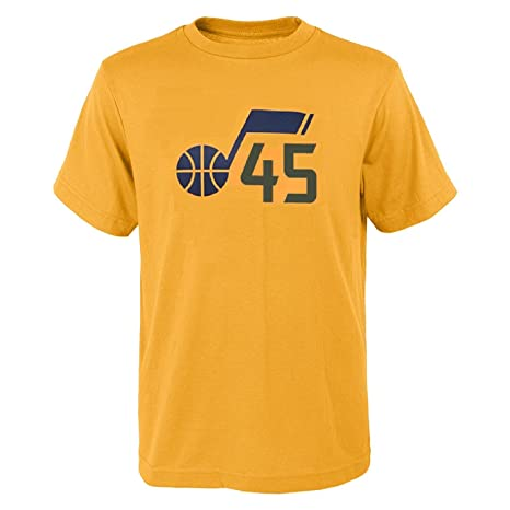 10350918d Outerstuff Donovan Mitchell Utah Jazz #45 Youth Gold Player Name & Number T- Shirt