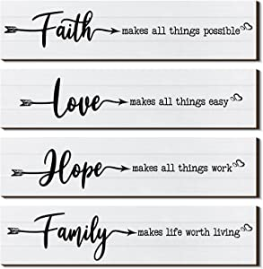 4 Pieces Rustic Wood Sign Wall Decor Faith Makes All Things Possible Quote Sign Rustic Love Hope Family Wood Sign Home Decoration for Home Office Wedding Kitchen, 13 x 3 x 0.2 Inch (White)