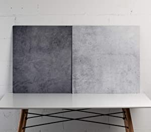 "Duo Board - 24""X24"" Double Sided Backdrop Board Surface Food & Product Photography - Legs Included (Iced Concrete/Midnight Cement) Made in USA"